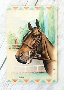 Swap Card, Collectable Vintage Lial Horse Head Art, Alsab, Playing Card