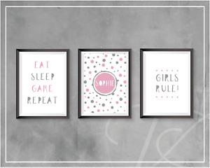 Girls Bedroom Personalised Wall Art A4 Gaming Prints Pink Gamer Eat Sleep Game