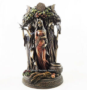 Maiden Mother Crone Statue Figurine Pagan Triple Moon Goddess Altar Ornament NEW