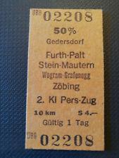 Eisenbahn Fahrkarte  1978  Gedersdorf - Zöbing