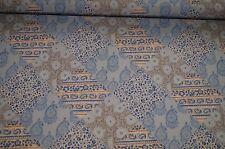 Jersey Stoff blau-beige Paisley Feinjersey Meterware #01078