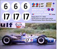 1:24 Decals for The 1968 Matra Ms11 Formula 1 car