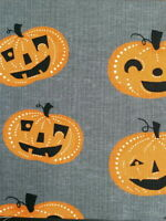 NEW window spooky valance spellbound orange black PUMPKINS on gray Halloween