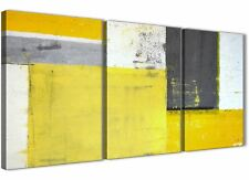 Yellow Grey Abstract Painting Canvas Wall Art Print - 3 Set - 125cm Wide - 3346