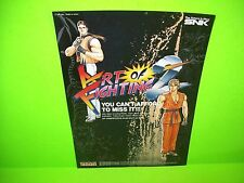 Neo Geo SNK ART OF FIGHTING 2 Original NOS Video Arcade Game Sales Flyer Japan
