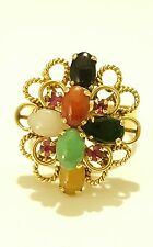 Vintage 14k Solid Yellow Gold Multi-Color Jade & Ruby Ring Fine Estate Jewelry