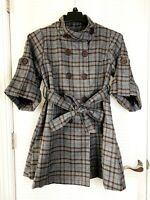 HAZEL Womens Coat Gray Plaid Belted Double Breasted Size Medium - NWOT