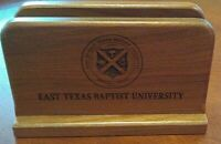 Wooden Letter /Napkin Holder EAST TEXAS BAPTIST U. 6.5'' X 4'' X 3''