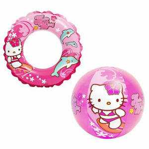 4 Piece Hello Kitty Beach Set Inflatable Ring Ball Tote Sunglasses Age 3+ NEW