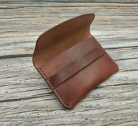 Personalised Leather Card Case Mahogany Brown Leather Card Wallet Card Holder