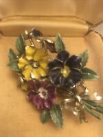 Vintage Signed Exquisite Recd Pansy Flower May Birthday Series Brooch Pin