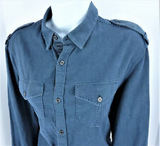 Small Elie Tahari Button Down Blue Military Inspired Convertible Sleeves Womens