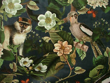 Tropical Monkey Bird Botanical Curtain Upholstery Cushion Plush Velvet Fabric