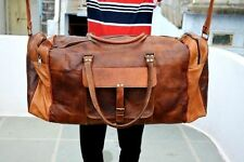 "Men genuine goat leather 24"" brown duffle travel gym weekend overnight bag NEW"