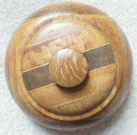 Vintage Multi-wood Circular Lidded Box - 13 cm Diameter