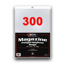 300 BCW Non-Resealable Magazine Poly Bags 8.875 x 11.125 plus flap ACID FREE
