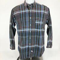 Ralph Lauren Mens Button Down Front Shirt Black Blue Long Sleeve Plaid Cotton M