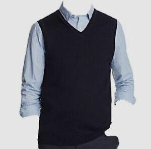 $295 Bloomingdale's Men's Sweater Pullover V-Neck Sweatervest Vest Blue Size L