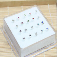 20PC Solid Silver Crystal Five-pointed star Straight Bar Rod Nose Stud Wholesale