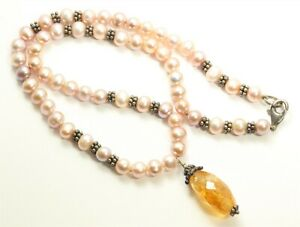 """Sterling Silver Handmade Cultured Pink Pearl & Citrine Drop Bead Necklace 17"""""""