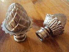 2 Endstücke Endknöpfe für Gardinenstange 16 mm Zapfen matt silberfarbig Metall
