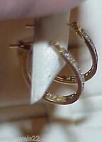 14K .25ct Diamond Oval Hoop Earrings Post Yellow Gold Brand New w/Tag $990