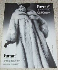 1985 ad page -Furrari Furs fur coat Pretty Girl vintage advertising PRINT ADVERT