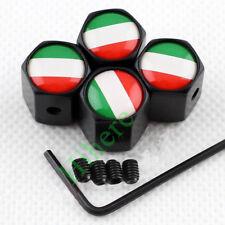 Black Anti-theft Car Wheel Tyre Tire Stem Air Valve Cap Italy Flag Styling Parts