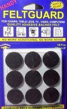 FeltGuard Stickers 25mm Round 18 Adhesive Die Cut Felt Dots Soft & Silent Black