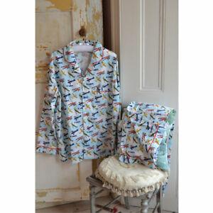 Mens Powell Craft Traditional Style Cotton Pyjamas Bader Vintage Plane Print