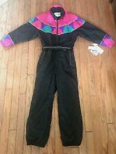 Nwt! Vtg 80s 90s Fera Ski Wear One Piece Snow Suit Color Block w/Belt Size 14