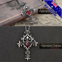 The Vampire Diaries Red Cross Vintage Heart Jewelry Pendant Necklace