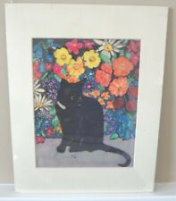 Black Cat with Flowers- Original Batik Painting by Alice A. Craig
