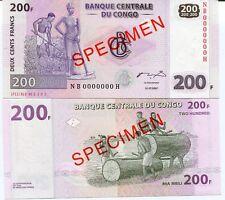 CONGO 200 FRANCS 2007 P 99 NB-H SPECIMEN UNC