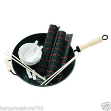 11 Piece Oriental Wok Set Chopsticks Placemats Ideal for Cooking and Serving
