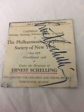 COMPOSER Ernest Schelling autographed NY Philharmonic Carnegie Hall Prgm Page.