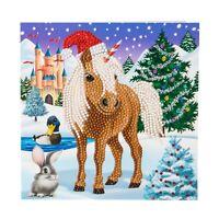 Craft Buddy Crystal Art DIY WINTER HORSE Christmas card (diamond painting)