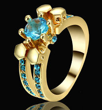 4.2ct Lab Aquamarine Round CZ 10kt Yellow Gold Filled Vintage Skull Ring Size 7