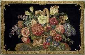 "TAPESTRY~Flemish Floral Chenille (Black) BELGIUM 40""x 26"""