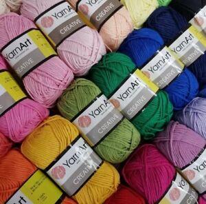 100% Cotton Aran / DK knitting yarn / wool 50g balls, YarnArt Creative