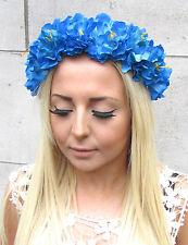 Electric Blue Peony Flower Garland Headband Hair Crown Festival Boho Rose 1351