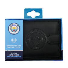 MANCHESTER CITY FC RFID TECHNOLOGY EMBOSSED LEATHER WALLET PURSE NEW XMAS GIFT
