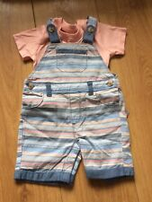 Striped Dungarees And Tshirt 3-6 Bnwt