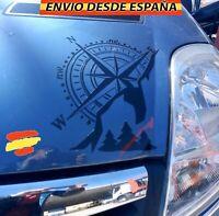 Rosa De Vientos Montaña Vinilo Pegatina Decal Coche Jeep 4x4 Furgoneta 60x60cm