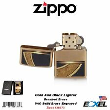 Zippo 28673, Gold And Black Lighter, Brushed Brass W/O Solid Brass Engraved