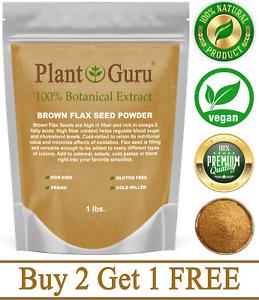 Brown Flax Seed Powder 1 lb. Omega-3 NON GMO 100% Pure Flaxseed Ground Meal Bulk