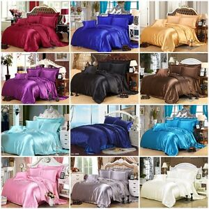 Solid Silk Like All Size Quilt Duvet Doona Covers Set/Flat/Fitted Sheet Bedding