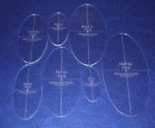 "Oval Quilt Templates 7 Piece Set. 4""to"",10"" - Clear 1/4"" Thick w/ Guidelines"