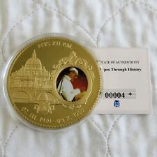 More details for 2012 pope pius xii 70mm large gold plated coloured proof medal - coa