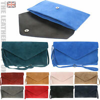 Ladies Italian Leather Suede Envelope Clutch Made in Italy Party Wedding Bag